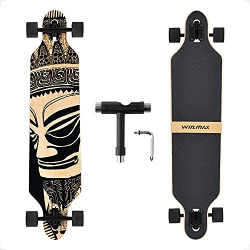 WIN.MAX Longboard Skateboard Cruiser 7 couches en bois d'érable avec roulements ABEC-11 et outil en T (Wizard)