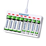 Rechargeable aa Batteries Charger,8Bay AA AAA Battery Charger with 4-Pack 1.2V 2800mah Ni-Mh AA Rechargeable Batteries and 4-Pack 1100mah AAA Rechargeable Batteries - Durable & Long Lasting Batteries