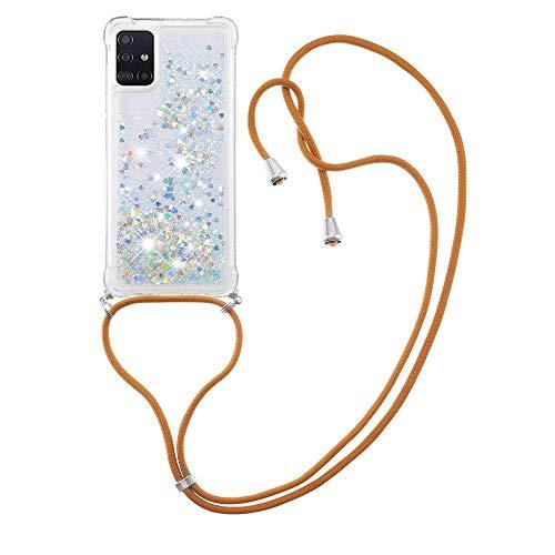 Flüssig-Silikon TPU Schutzhülle stoßfest Schutzhülle für Samsung Galaxy A51 (Silber)