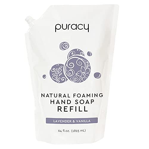Puracy Natural Foaming Hand Soap Refill, Lavender & Vanilla, Sulfate-Free Hand Wash Foam, 64 Ounce