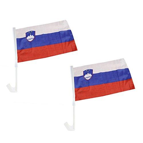 Sonia Originelli 2er Set Auto Flagge Fahne WM Länder Fußball Fan Farbe Slowenien