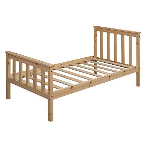 FineBuy Kinderbett 160x80 cm aus Kiefer Holz Natur mit Lattenrost Schlafbett | Bett für Kinder Einzelbett | Bettgestell Jugendbett