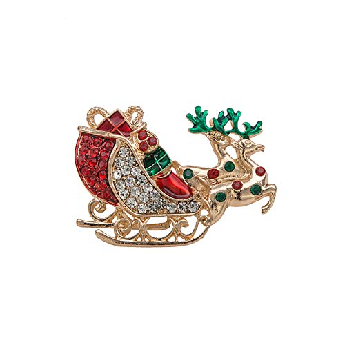 Rexinte Multi-Colored Rhinestone Crystal Car Brooch Pin for Christmas Decorations Ornaments Gifts for Girl Women