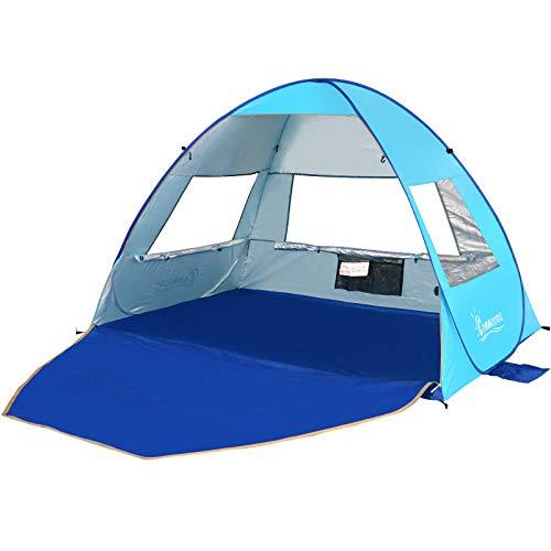 COMMOUDS Large Pop Up Beach Tent Beach Umbrella Automatic Sun Shelter Cabana Easy Set Up Light Weight Beach Canopy 3-4 Person Anti-UV Portable Sunshade Beach Shade