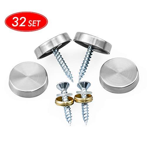 NATEE 32 Stück Edelstahl Spiegel Nagel 20mm Schraubenkappe Dekorativ Nägel Möbel Montage Schraubverschluss Nagel für Spiegel, Tisch, Kleiderschränke