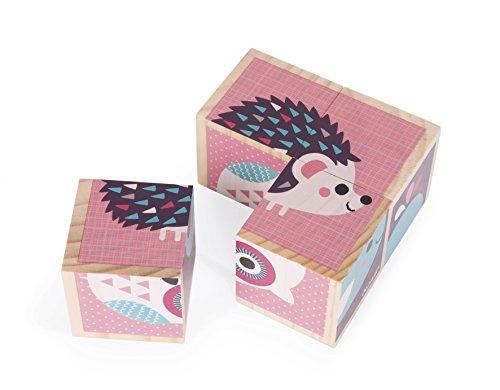 """Janod J08001 """"My First"""" Bauklötze mit Babytier-Motiv, Interaktionsspielzeug für Kleinkinder, aus Massivholz, für Kinder ab 1 Jahr"""
