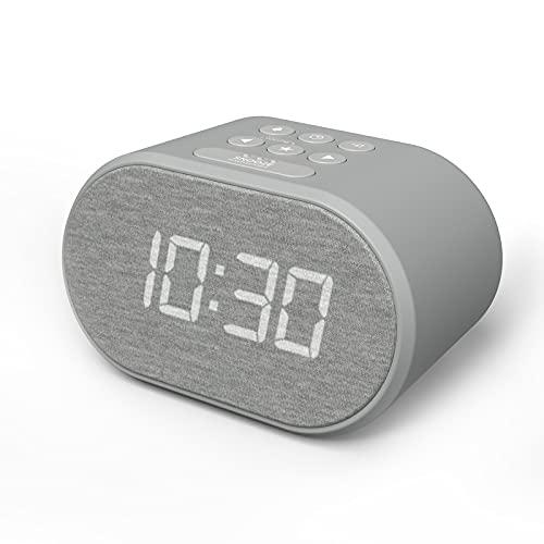 Radio Reveil avec Chargeur USB et Radio FM, Horloge Digitale, Reveil Matin avec Ecran à 5 Niveaux de Luminosité, Réveil Numérique (Gris)