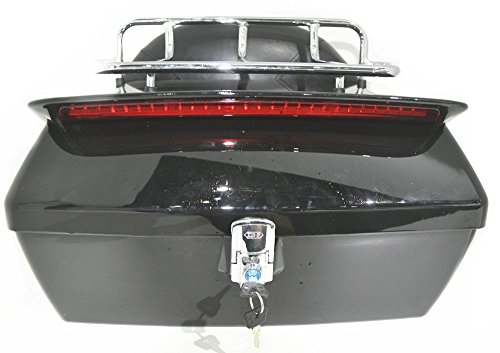 Black Motorcycle Trunk Tail Box Luggage Universal w/ Top Rack&Backrest&TailLight