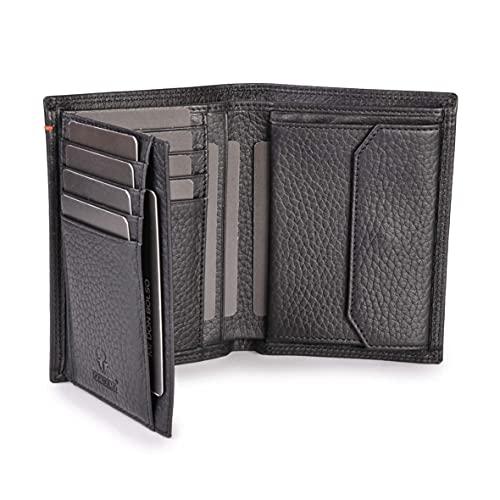 DONBOLSO® Geldbörse Wien I Großes Portemonnaie für Herren I Geldbeutel aus Leder mit RFID-Schutz I genarbtes Nappaleder