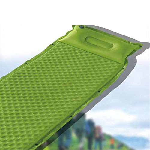 Camping-Tools. Schlafsackmatte mit anhängendem Kissen Wasserdichte, leichte, aufblasbare Luftmatratze für den Außenbereich Selbstaufblasende, kompakte Schaumstoffspleißmatte für einzelne Campingauflag