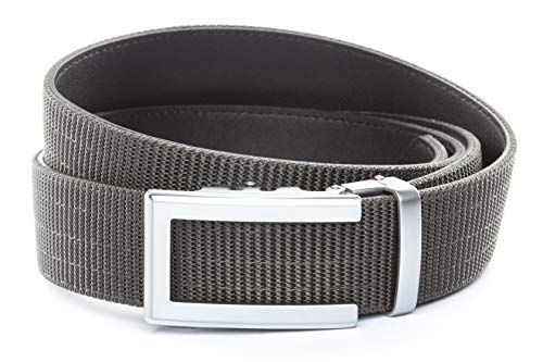 """Anson Belt & Buckle - 1.5"""" Traditional Silver Buckle with Concealed Carry Ratchet Belt Strap (Tactical Grade Nylon/Microfiber Backing, Graphite)"""