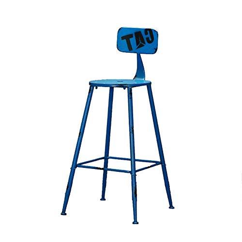 HYRGLIZI Respaldo de taburetes de Bar de Hierro, Taburete de Bar de café de Metal Sillas de Bar Creativas Rurales Americanas (Color: D, Tamaño: Altura del Asiento 71cm)