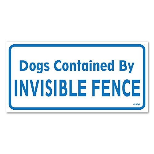 """Dogs Contained by Invisible Fence, 6"""" high x 12"""" wide, Blue on White, Self Adhesive Vinyl Sticker, Indoor and Outdoor Use, Rust Free, UV Protected, Waterproof"""