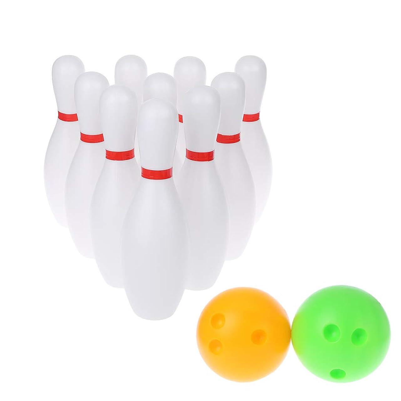 光沢ハム副LANDUM 教育玩具, キッズ面白いボウリングセット2ボール10ピンボウリングゲームスポーツエクササイズ屋外教育玩具