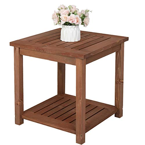 HOOJUEAN Square Solid Teak Hardwood Coffee Side Table - Weatherproof Outdoor Wooden Garden Furniture for Garden, Patio, Decking, Balcony, Conservatory or Living Room