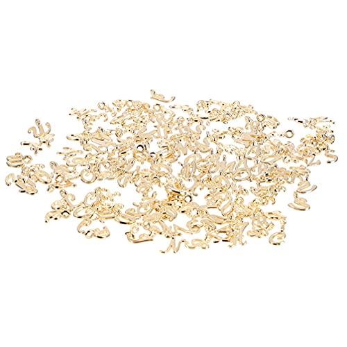 156 Stück ABC Buchstaben Charms A-Z Metall Alphabet Anhänger lose Perlen Verbindungsperlen mit Binderingen für Halskette Armband Schmuck Handwerk DIY (Farbe: goldfarben, Größe: 1 x 1,3 cm)
