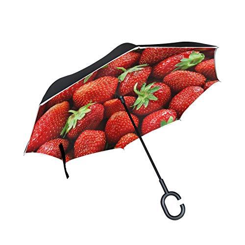 Paraguas invertido de Doble Capa, a Prueba de Viento, al Aire Libre, para Lluvia, Sol, para automóvil, con Mango en Forma de C, patrón de Fruta de Fresa