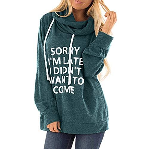 KINGOLDON Womens Casual Hooded Lettle Print Sweatshirt Loose Drawstring Pullover Hoodies Green