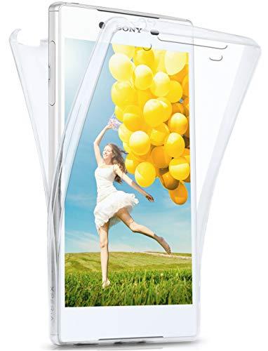 moex Double Hülle für Sony Xperia Z5 - Hülle mit 360 Grad Schutz, Silikon Schutzhülle, vorne & hinten transparent, Clear Cover - Klar
