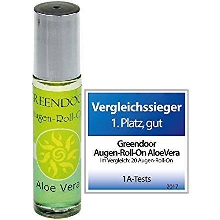 Greendoor Augen Roll-On Aloe Vera 10ml, Vergleichssieger kaufen, vegane Naturkosmetik Augenpflege, natürliche Feuchtigkeitspflege gegen Augenfältchen, Natur Augenserum anti Falten
