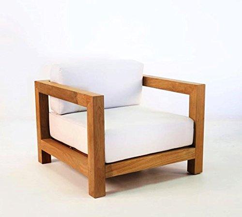 Casa Padrino Garten Sessel 'Boston' Rustikal Weiss-Creme/Braun 80 x 40 x H70 cm - Eiche Massivholz - Echtholz Möbel Massiv