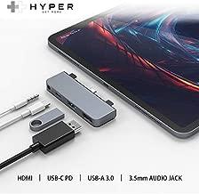"HyperDrive USB C Hub Adapter for iPad Pro 2020 2019 2018 11""/ 12.9"", Most USBC Smartphone/Tablet, 4-in-1 USB-C Hub Dongle with 4K HDMI, C-USB PD Charging, USB 3.0, 3.5mm Headphone Audio Jack -Gray"