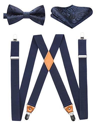 HISDERN Hosenträger für Herren Fliege Taschentuch für Männer X-Form Hosenträger Braces Set