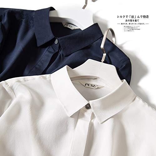 De nieuwe kleine revers lange mouwen shirt Slim zware zijden shirt bottoming shirt blouses merk:QWERTY (Kleur: Wit, Maat : S)