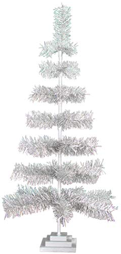 48' Christmas Trees Artificial Indoor Outdoor Classic Tinsel Feather Brush Branches Tabletop Home Holiday Display Tree Base Stand Included - 4FT Tall (Silver)