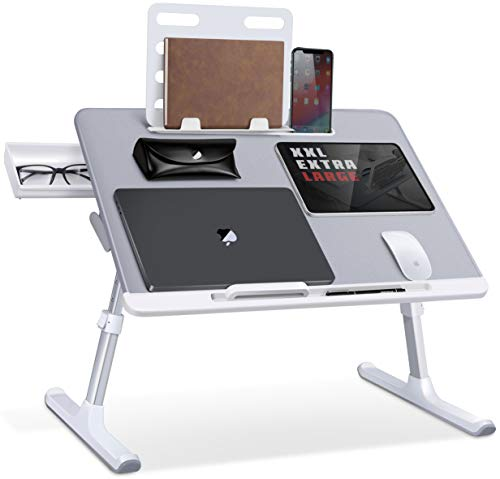Laptop Bed Tray Desk, SAIJI Adjustable Laptop Bed Table, Foldable Laptop Stand with Storage Drawer for Eating, Working, Writing, Gaming, Drawing (Gray, X-Large)