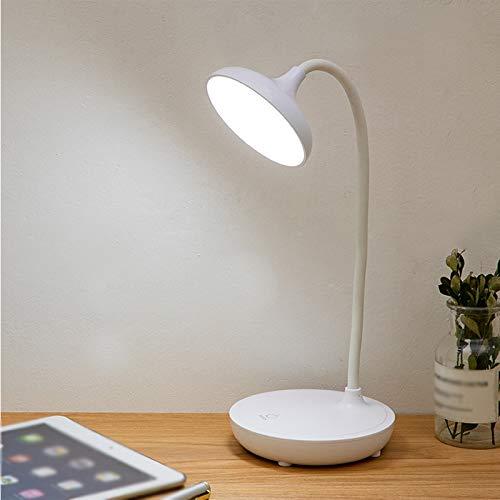 Carga USB, Aprendizaje de Lectura, lámpara de Escritorio con protección Ocular, lámpara de Escritorio táctil, el Tubo del Cuerpo de la lámpara se Puede torcer 360 Grados,Blanco