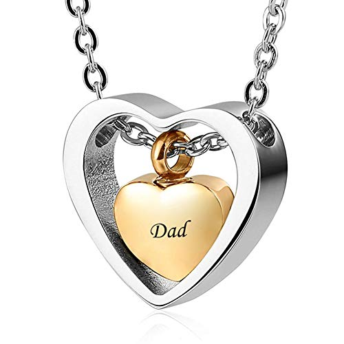 AMA-StarUK36 O Chain Golden Heart Shape Necklace for Ashes Love Heart Burning Memory Keepsake Hanging Dad Mum Necklace Jewelry Dad