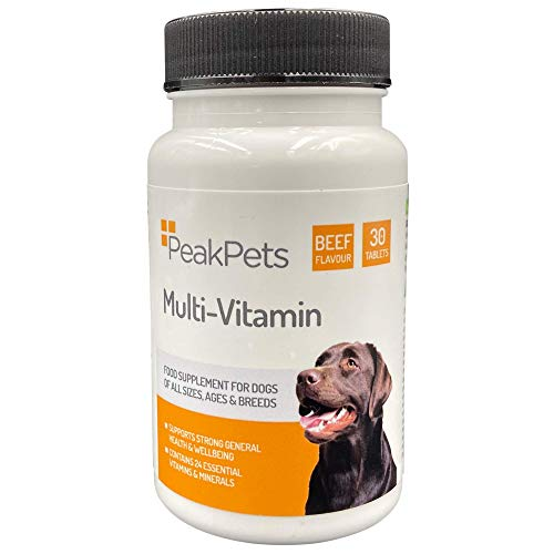 PET WEIGHTER Peak Pets Dog Multivitamin Supplement - 24 Essential Vitamins & Minerals with Delicious Beef Flavour! UK Made & Safe for all Dog Breeds! (30)