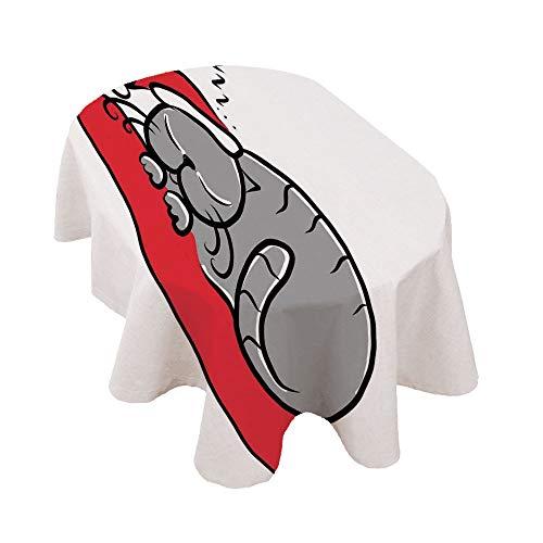 Angel Bags - Mantel ovalado de Navidad, diseño de gato con gorro de Papá Noel en almohada de invierno, diseño de dibujos animados, color blanco, rojo y gris
