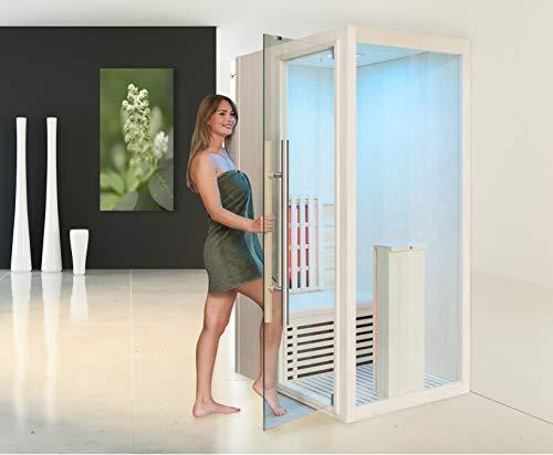 Infrarotkabine WELCON® Easytherm Solo - Massivholz Sauna für eine Person - Tür rechts oder links wählbar (Tür bei Draufsicht in die linke Seitenwand integriert (wie Abbildung))