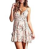 Ajpguot Vestido de Verano Mujer Impresión Mini Vestidos de Playa Sexy V-Cuello Sin Mangas Vestido Elegante Maxi Dress de Partido Sin Respaldo Sundress con Cinturón (S, 100252 Rosa Claro)