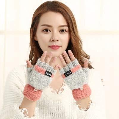 Women Men Gloves Stylish Hand Warmer Winter Knitted Flip Top Half-Finger Gloves Faux Wool Mitten - (Color: 1, Gloves Size: Free Size)