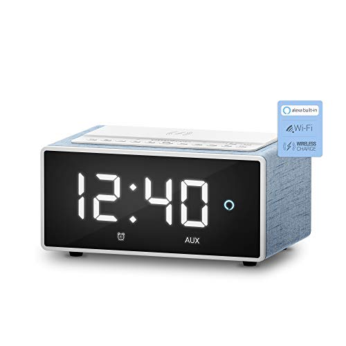 Energy Sistem Reloj despertador digital con Alexa integrado Smart Speaker Wake Up con 3 meses GRATIS de Amazon Music(10W, Cargador Qi, Wi-Fi, Bluetooth)