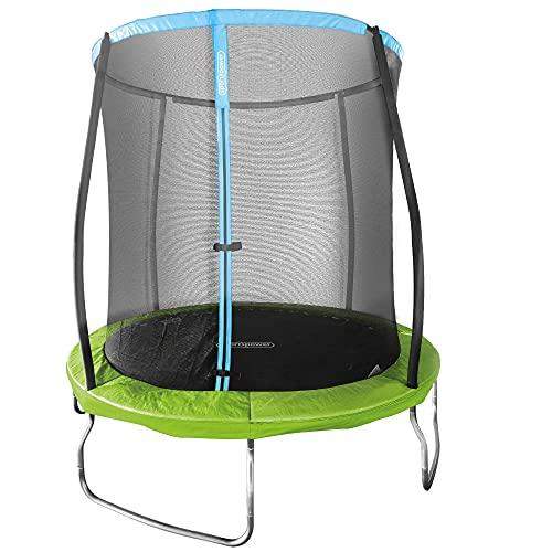 Aktive 54083 - Cama elástica infantil exterior, Trampolines para niños, medidas 244 x 242 cm, peso máx 100 kg, +6 años, con red de seguridad, trampolín resistente, protección UV