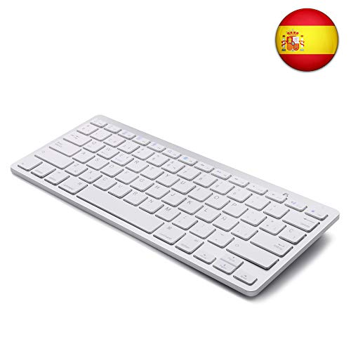 Tableta Teclado Bluetooth,  Boriyuan Teclado inalámbrico en español para Mac iPad iPhone iOS Android Windows Smart TV