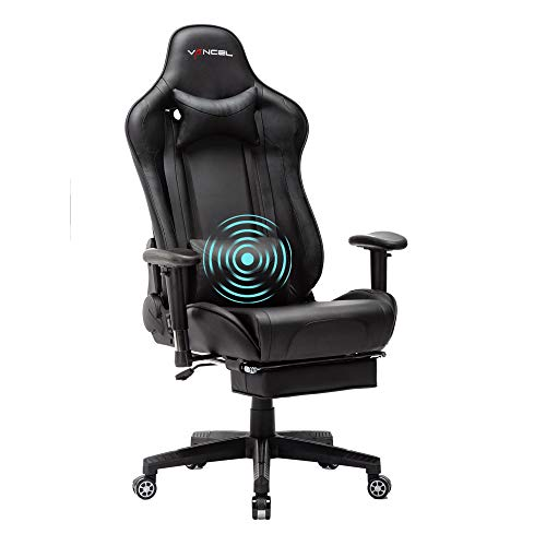 EVANCEL Gaming Stuhl in E-Sports Racing Style Massage Teillenkissen Computerstuhl Ergonomisches Design schwenkbarer mit Verstellbaren Armlehnen und Fußstütze, Wippfunktion mit PU Leder (Schwarz)