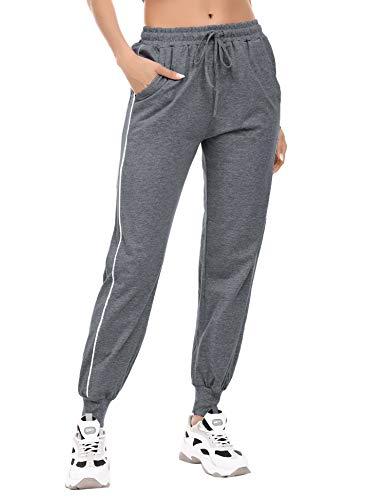 Akalnny Damen Jogginghose Baumwolle Sporthose Lang Freizeithose Laufhosen Winter Streifen High Waist Trainingshose für Frauen