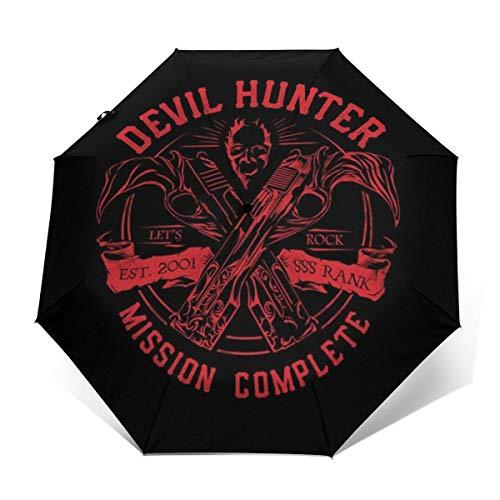 Devil Hunter DMC Regenschirm, Winddicht, kompakt, automatisch, faltbar, Schwarz/Elfenbeinfarben