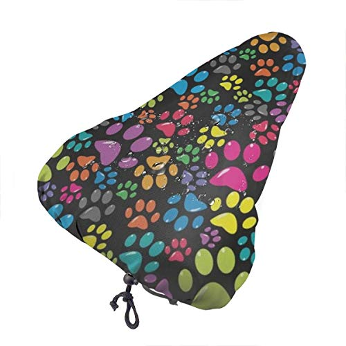N\ A Bike Seat Cover Animal Dog Rainbow Paw Waterproof Bicycle Seat Rain Cover with Drawstring, Sun/Water/Dust Resistant Bike Saddle Cushion Cover Protector Shield for Women/Men/Unisex