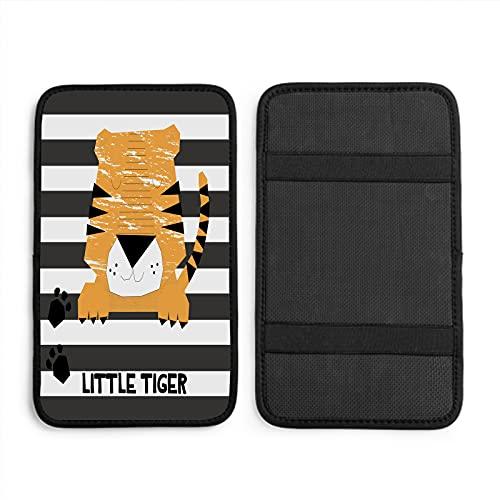 Nicokee Cubierta de consola central de tigre de dibujos animados, cara de gato de África, gatito, pata salvaje joven apoyabrazos cubierta para vehículo SUV camión