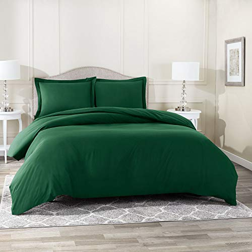"""Nestl Duvet Cover 3 Piece Set – Ultra Soft Double Brushed Microfiber Hotel-Quality – Comforter Cover with Button Closure and 2 Pillow Shams, Hunter Green - Queen 90""""x90"""""""