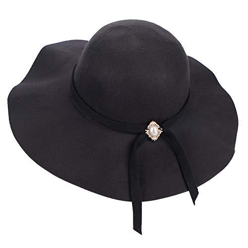 Sombrero Invierno Cálido Mujer Sombrero Melón Cuenca Fieltro Gorro Lana Vintage Jazz Sombrero Transpirable Plegable Bolos Sombreros Capelina para Ocio Ceremonia de Viaje