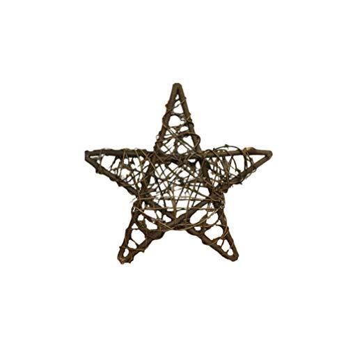 Amosfun Rattan Star Christmas Tree Topper Decorations Ornaments 40cm