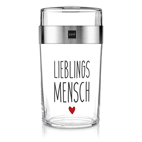 PPD Paperproducts Design Snack 2Go Glass Motiv Lieblingsmensch Salatbecher Müslibecher aus Glas Becher to Go