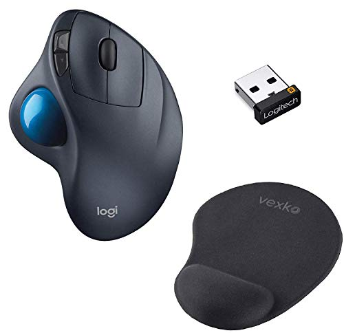 Logitech M570 Wireless Trackball Mouse – Ergonomic Design with Sculpted Right-Hand Shape (Dark Gray) + Logitech USB Unifying Receiver + Vexko Ergonomic Mouse Pad with Gel Wrist Rest (Black)